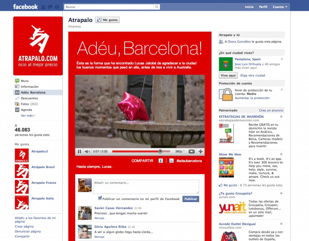 Landing en Facebook de Atrapalo