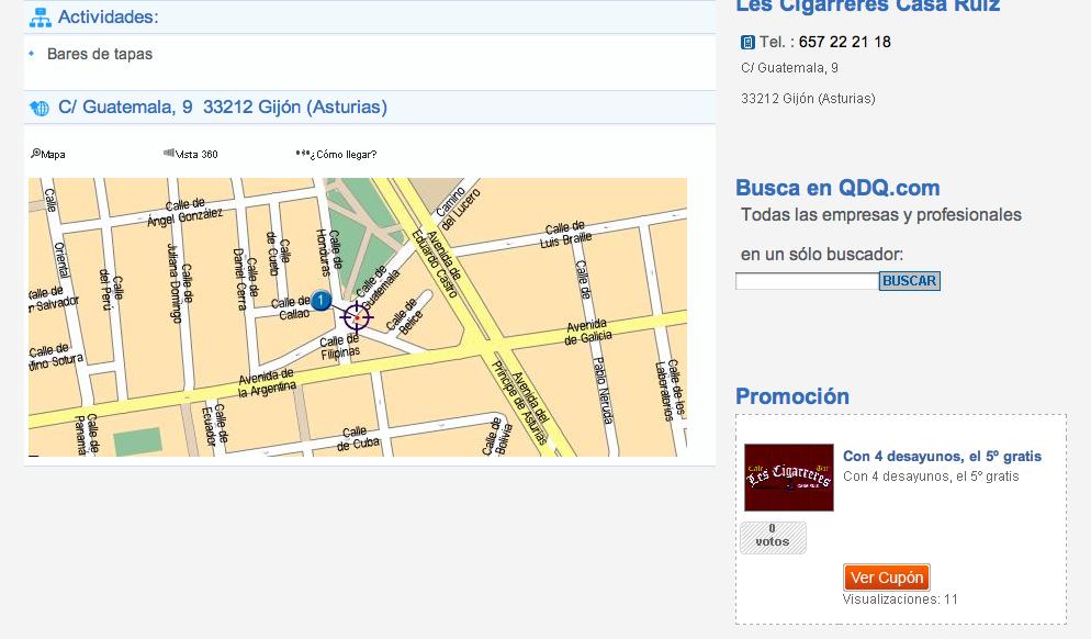 Cupones en la ficha de negocio - QDQ