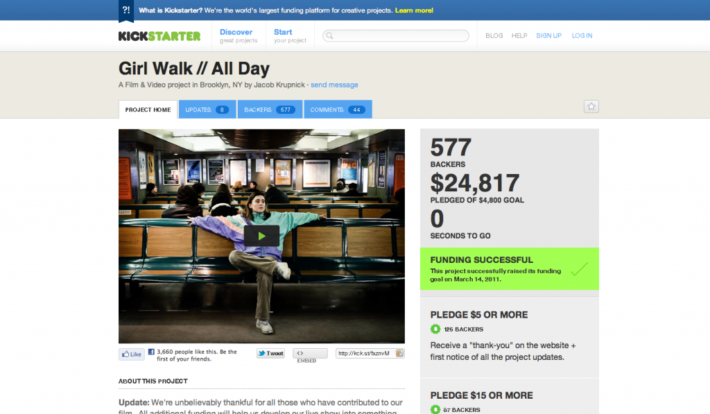 Girl walk all day en Kickstarter
