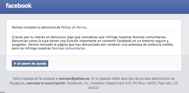 Mensaje que me ha enviado Facebook informando de que la página de Peleas de Perros no infringe las normas de Facebook