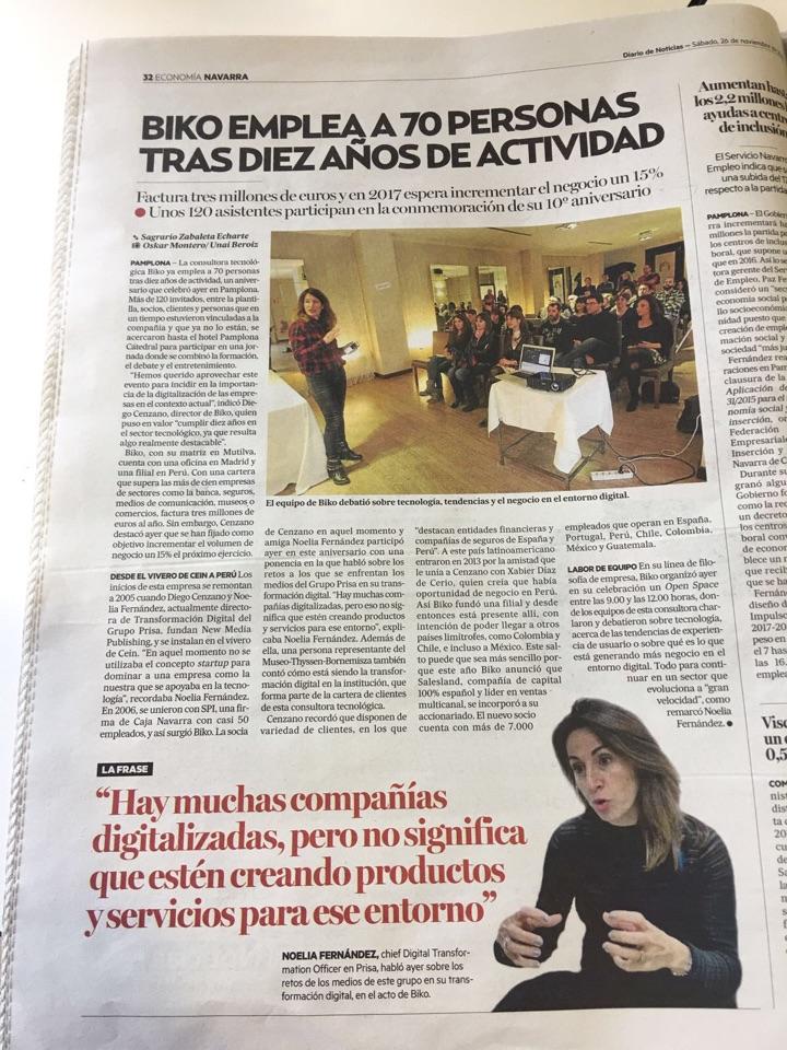 sonesu y noe-cherokee en Noticias de Navarra por el 10º aniversario de Biko